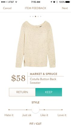 Market and Spruce Cotulla Button Back Sweater. I love this but want in another color!  I have a lot of white/off-white already.