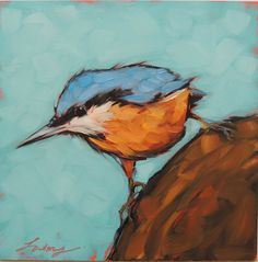 Red-breasted Nuthatch PRINT, 6x6'' print of my original oil painting, bird prints, bird art, Nuthatches