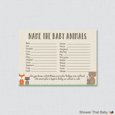Printable Woodland Baby Shower Games Package  This baby shower games package is perfect if youre wanting to have a variety of activities at your baby shower. There are six different games included. You can use them all or just a few - either way our package deal will save you money! Included: 1 - Baby Shower Bingo - The package comes with two different versions of Baby Shower Bingo and you can choose which one you want to print and use. One is pre-filled and the bingo squares have common…