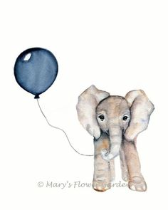 Navy nursery art, 8 X 10 print, elephant illustration, boy's nursery decor, baby boy nursery, navy balloon, elephant watercolor, boy's room