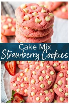 Strawberry Cake Mix Cookies Strawberry Cookies are my favorite Strawberry Cake Mix Cookies! These White Chocolate Strawberry Cake Mix Cookies are so fun and delicious, and so super easy! These are the best summer cookies! White Chocolate Strawberries, Chocolate Strawberry Cake, White Chocolate Chip Cookies, Cake Mix Recipes, Easy Cookie Recipes, Dessert Recipes, Desserts, Yummy Recipes, Strawberry Cake Mix Cookies