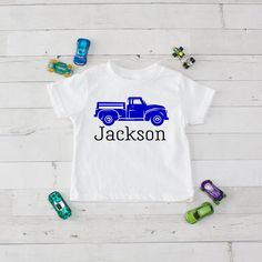 Blue Pickup Truck Personalized Graphic T-Shirt