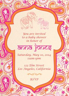 Design by inviteink.com for a very special mom to be. Indian style baby shower invitation with paisley and elephants.