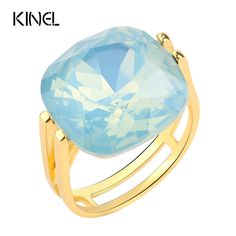 2017 Fashion Square Blue Opal Stone Wedding Rings For Women Gold Plated CZ Diamond Ring Female OL Vintage Jewelry