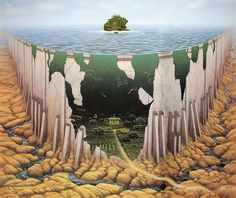 The Fantastic Art of Jacek Yerka on Design You Trust – Jacek Yerka, famous painter from Poland. Psychedelic Art, Art Visionnaire, Surreal Artwork, Hyperrealism, Pop Surrealism, Visionary Art, Realism Art, Fantastic Art, Photomontage
