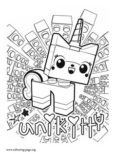 UniKitty, a unicorn kitten from the adventure of Lego. Enjoy this beautiful The Lego Movie coloring page and have fun!