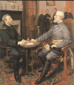 General Lee and General Grant signing treaty