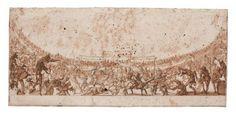 """Jacques CALLOT, dessin à la craie rouge et à l'encre brune cette étude préparatoire pour la troisième planche gravée de """"La Guerre d'Amour"""" dédiée à Cosme de Médicis, Grand Duc de Florence."""