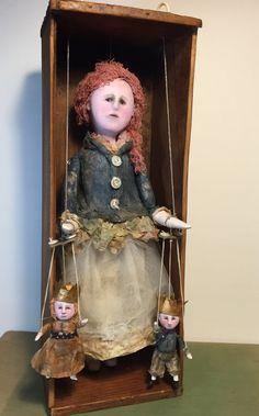 Olivia - original handmade art doll / marionette by SusanHopkirkFolkArt on Etsy