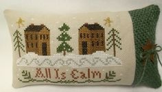 Christmas Cross Stitched Mini Pillow / Primitive Houses - pinned by pin4etsy.com
