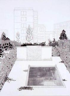 須藤由希子 | Take Ninagawa Architecture Collage, Architecture Drawings, Architecture Illustrations, Presentation Layout, Architectural Presentation, Collage Drawing, Landscape Sketch, House Drawing, 3d Drawings