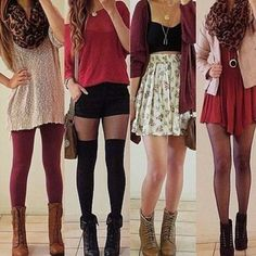 Really cute red outfits. tights. leggings. skirts.