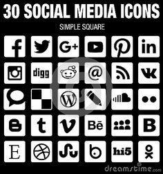 Square Social Media Icons Collection Flat Black And White With Rounded Corners - Download From Over 37 Million High Quality Stock Photos, Images, Vectors. Sign up for FREE today. Image: 60703395