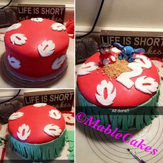 ! LILO and stitch cake ! Just simple with the left top cake and a lilo and stitch toy on top.