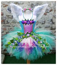 Items similar to Girls Fairy Woodland Forest Tutu Dress Costume. Green, Blue, Purple & Pink Outfit with Ivy + Flowers. Optional Feather Wings + Headband on Etsy