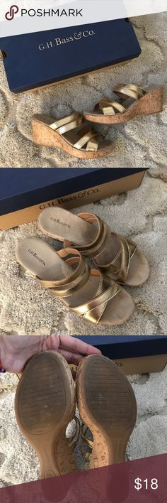 """Bass Gold Sandals Great condition. Worn only twice for short period of times. Only one kinda """"dirty tiny spot"""" I gently tried to remove with no luck (see last pic) You can't even tell while wearing them😉 Size 6.5 (smooth/soft insoles, very comfortable) SFPF home Bass Shoes Sandals"""