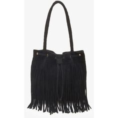 Forever 21 Fringed Suede Bucket Bag ($25) ❤ liked on Polyvore featuring bags, handbags, shoulder bags, forever 21 handbags, fringe purse, fringe shoulder bag, suede purse and woven handbag