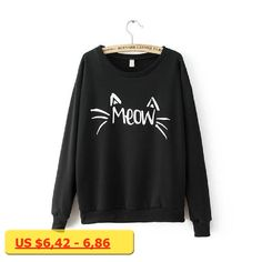 Cartoon Cat Print Sweatshirt Long Sleeve Casual Women Pullovers Black Round Neck Cute Sweatshirt for Women hoodie Sweatshirt