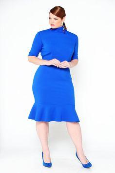 Plus Size Dress - JIBRI Mock Neck Dress with Ruffle. - Plus Size Fashion