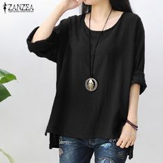 Checkout our New Arrival of Collection:Womens Long Sleeve Blouses Casual Baggy Cotton