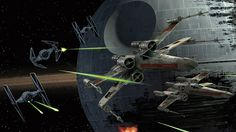 Star Wars, Skirmish over Death Star number two - The Battle of Endor..X-wing and imperial tie-fighters tangle in a blaze of laser blasts and avoidance maneuvers as the Rebel Alliance attempts to destroy Emperor Palpatine's artificial moon.