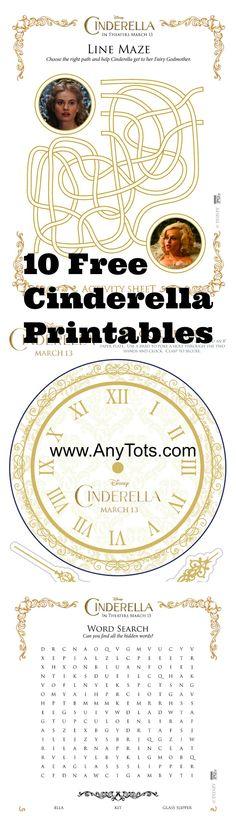 Free Cinderella Party Printables. 10 Cinderella Activty Sheets, Craft, Games to print for the kids. #Cinderella