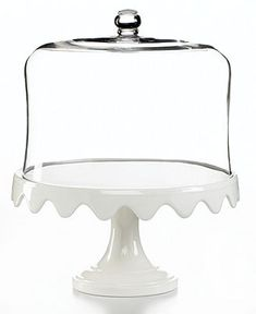 Martha Stewart Collection Serveware, Scalloped Cake Stand and Dome - Serveware - Dining & Entertaining - Macy's