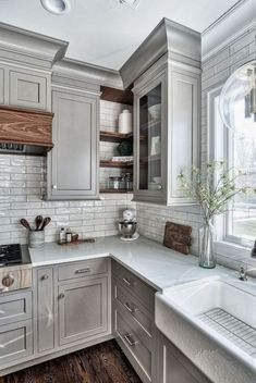Home Remodel On A Budget Grey Kitchen Design - Home Bunch Interior Design Ideas.Home Remodel On A Budget Grey Kitchen Design - Home Bunch Interior Design Ideas Farmhouse Kitchen Cabinets, Kitchen Cabinet Design, Kitchen Redo, Kitchen Dining, Kitchen Rustic, Kitchen Corner, Kitchen Storage, Corner Cupboard, Kitchen Countertops