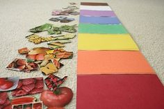 "cut/paste pics of fruits, veggies, and flowers. sort by color, glue collages on construction paper. connect pages to form a rainbow. use with ""planting a rainbow"" + ""vegetable soup"" w/ #garden unit."