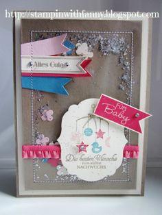 #stampin up babykarte geburt das schönste geschenk fahnengruß famose fähnchen framelits rahmen kollektion sweetest gift schüttelkarte shaking card born bitty banners labels collection Banner Greetings
