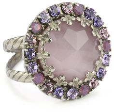 """Sorrelli """"Violet Eyes"""" Purple Crystal Round Cocktail Adjustable Ring >   Price: $33.00 > Click on the image for details and offers."""