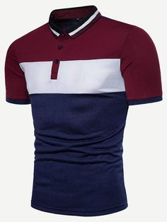 Men's Red White and Black Striped Polo Shirt Multi Sizes FREE SHIP