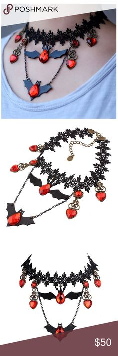 Rhinestone Leather Lace Bat Choker Game Thrones Black Lace and Orange Rhinestone Vegan Leather Bat Choker Necklace Pendants Horror Fantasy Jewelry. Perfect for Game of Thrones cosplay or any party or any normal Goth attire.    Metals Type:Zinc Alloy  Length:31+8.5cm(12.2in+3.4in) Jewelry Necklaces