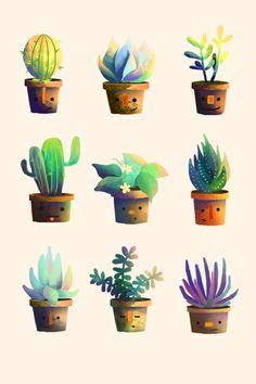 Incluso objetos con colores tan limitados como macetas con plantas pueden ser llenados de vida con una buena iluminación y los degradados apropiados.