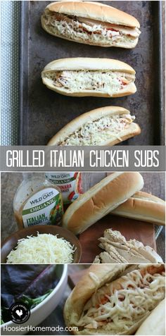 Sandwich Recipes | Only 5 ingredients is all you need for these delicious Grilled Italian Chicken Subs! They will quickly become a family favorite! Click on the photo to grab the recipe!