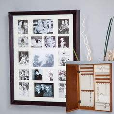 Collage Photo Frame Wooden Wall Locking Jewelry Armoire - 23W x 30H in. | Hayneedle Wall Storage Cabinets, Wall Mounted Jewelry Armoire, Family Collage, Make Your Own Bracelet, Do It Yourself Fashion, Wooden Walls, Collage Photo, Picture Frames, Photo Wall