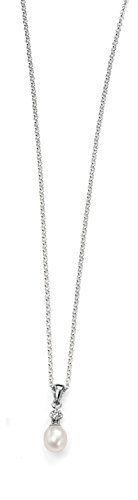 Elements - P3879W - Collier Femme - Argent 925/1000 1.36 Gr - Perle/Oxyde de zirconium - Perle d'eau douce
