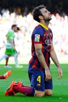 Cesc Fabregas of FC Barcelona shows his dejection during the La Liga match  between FC Barcelona de256658740