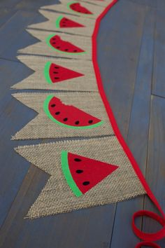 Watermelon Red Burlap Bunting Banner for Summer Party, First Birthday, Backyard BBQ or Photo Prop by MsRogersNeighborhood Etsy shop