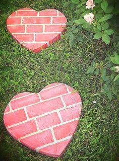 Fun DIY {Heart-Shaped} Stepping Stones! Get help with all your DIY projects. Learn more at www.diyz.com | DIY Holiday Projects