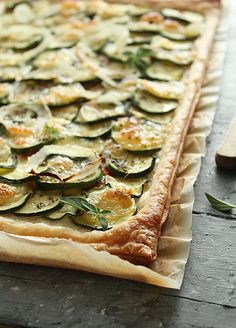 No Recipe with this picture, but I certainly will try to make one up…..this looks wonderful!  dy valscrapbook:  zucchini tart by Nina Gabelica on Flickr.