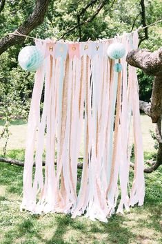 "Summer is the time for soirees, picnics, outdoor weddings and ""grown up"" tea parties. [[MORE]]Why not make your next get-together even more ""insta-worthy"" with a do-it-yourself fabric ribbon photo... #diypartydecorationsoutdoor"