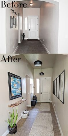 Decor Hallway Before and after pictures of long entryway makeover. Transformation of hallway. Modern, boho hallway and long entryway ideas. Our entry hallway makeover including pendant lighting, coat hangers, live edge shelf and large travel gallery. Rustic Hallway Table, Entryway Wall Decor, Entryway Ideas, Hallway Decorations, Entrance Ideas, Flat Hallway Ideas, Narrow Hallway Table, Narrow Hallway Decorating, Narrow Entryway