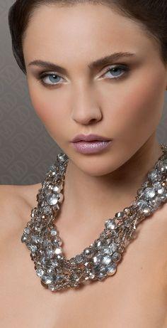 Statement necklace in grey Swarovski crystal.