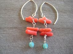Coral Earrings Sterling Silver Earrings Beach by debbyhawaii