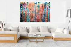 Dive in – XXL abstract artwork Palette Knife Painting, Ivana, Abstract Landscape, Blinds, Landscapes, Neon, Couch, The Originals, Canvas