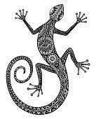 Illustration of Vector hand drawn monochrome lizard or salamander with ethnic tribal patterns. Beauty reptile decoration with ornament for tattoo design vector art, clipart and stock vectors. Tribal Tattoos, Trendy Tattoos, New Tattoos, Small Tattoos, Tattoos For Guys, Chicano Tattoos, Indian Tattoos, Gecko Tattoo, Lizard Tattoo