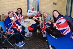 The Duke and Duchess of Cambridge have thanked the 'superfans' camping outside Lindo Wing of St Mary's Hospital in Paddington, where their new baby is due to be born by sending them coffee and croissants. 4/28/2015.