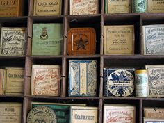 Antique herbal remedy tins