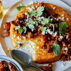 A recipe for Spicy Chicken Topped Tachin. This is one of those great recipes where it's an entire meal in one recipe: protein and grains. Chicken Spices, How To Cook Chicken, Fried Chicken, Rice Dishes, Casserole Dishes, Spoon Fork Bacon, Sticky Pork, Baked Rice, Indian Butter Chicken